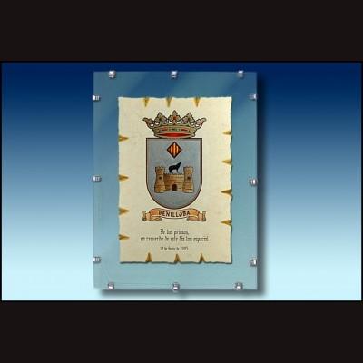 Escudo de Alcoy cristal con pinzas